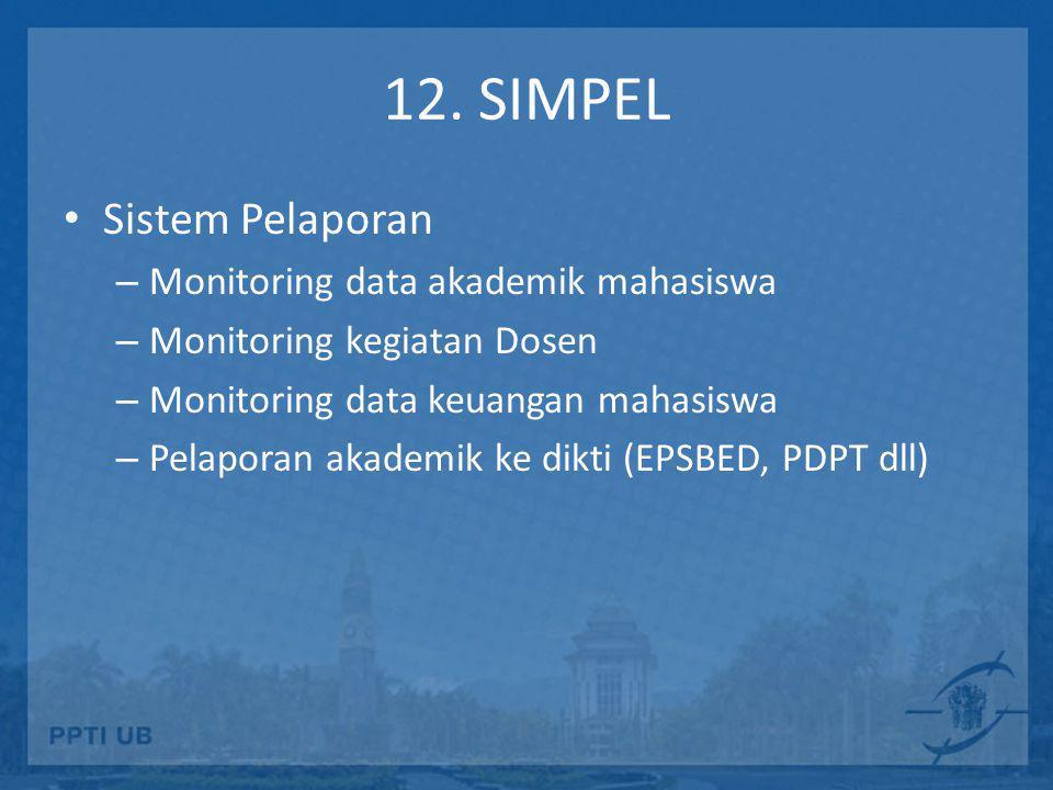12. SIMPEL • Sistem Pelaporan – Monitoring data akademik mahasiswa – Monitoring kegiatan Dosen – Monitoring data keuangan mahasiswa – Pelaporan akadem