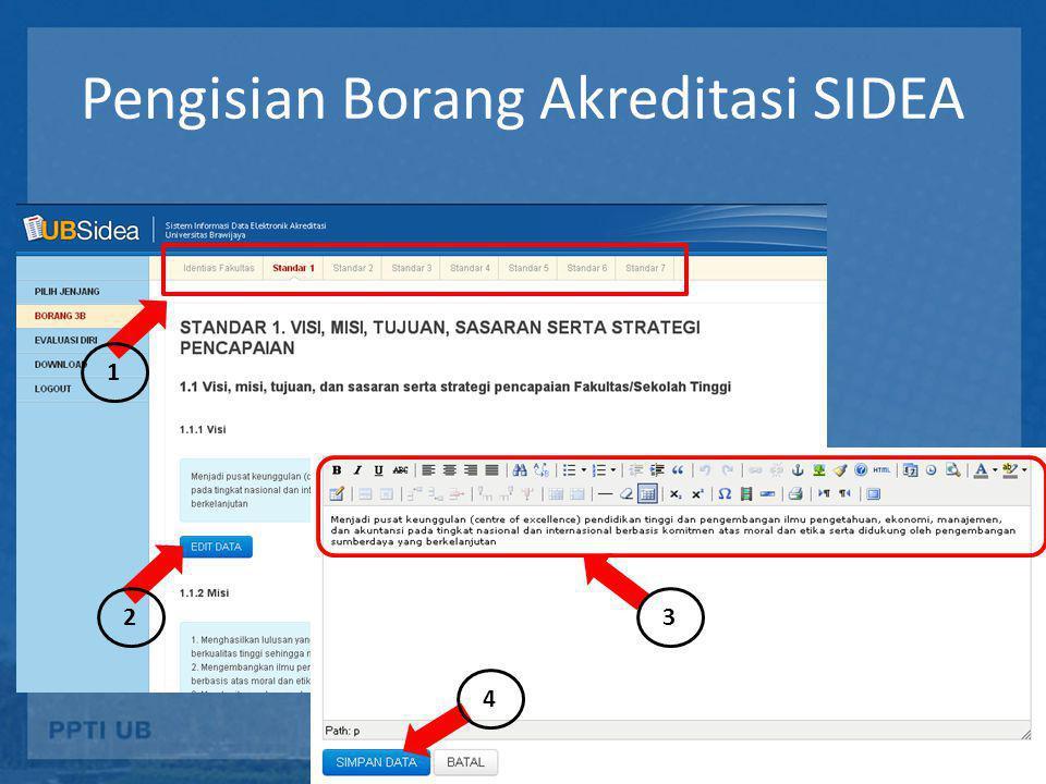 Pengisian Borang Akreditasi SIDEA 1 23 4