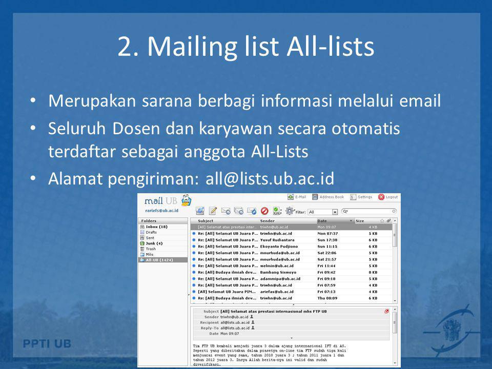 2. Mailing list All-lists • Merupakan sarana berbagi informasi melalui email • Seluruh Dosen dan karyawan secara otomatis terdaftar sebagai anggota Al
