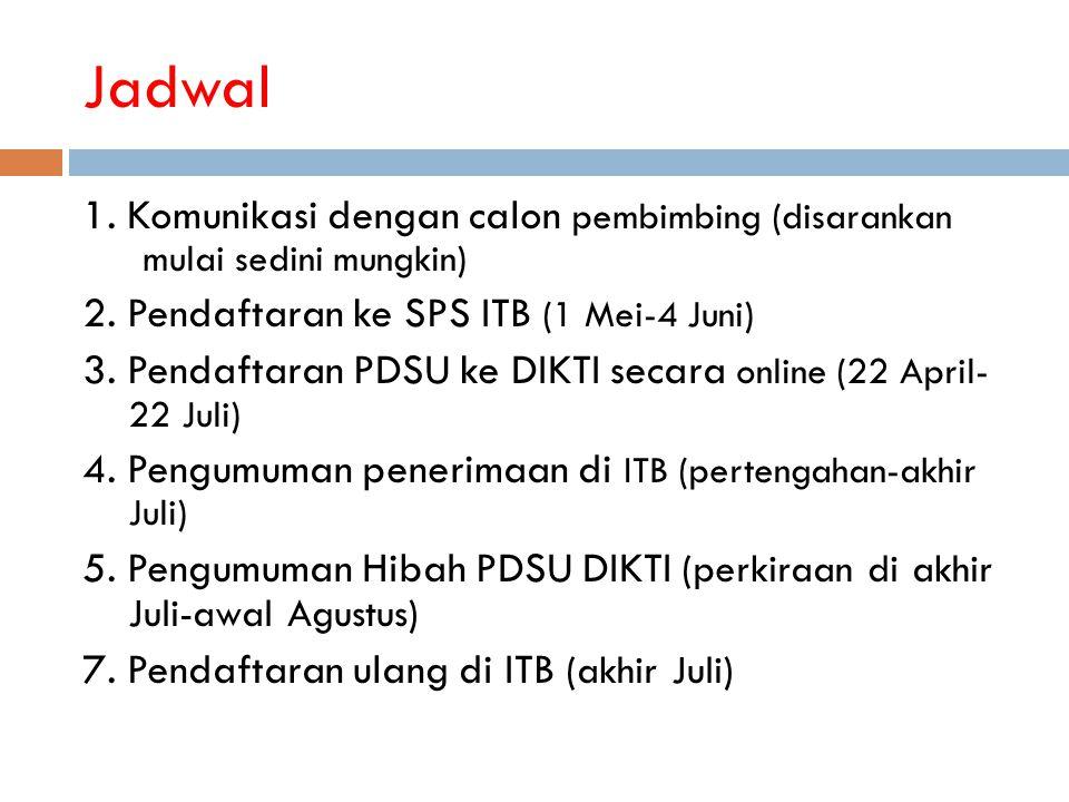 Jadwal 1. Komunikasi dengan calon pembimbing (disarankan mulai sedini mungkin) 2. Pendaftaran ke SPS ITB (1 Mei-4 Juni) 3. Pendaftaran PDSU ke DIKTI s