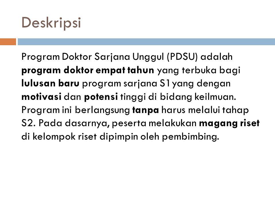 Deskripsi Program Doktor Sarjana Unggul (PDSU) adalah program doktor empat tahun yang terbuka bagi lulusan baru program sarjana S1yang dengan motivasi