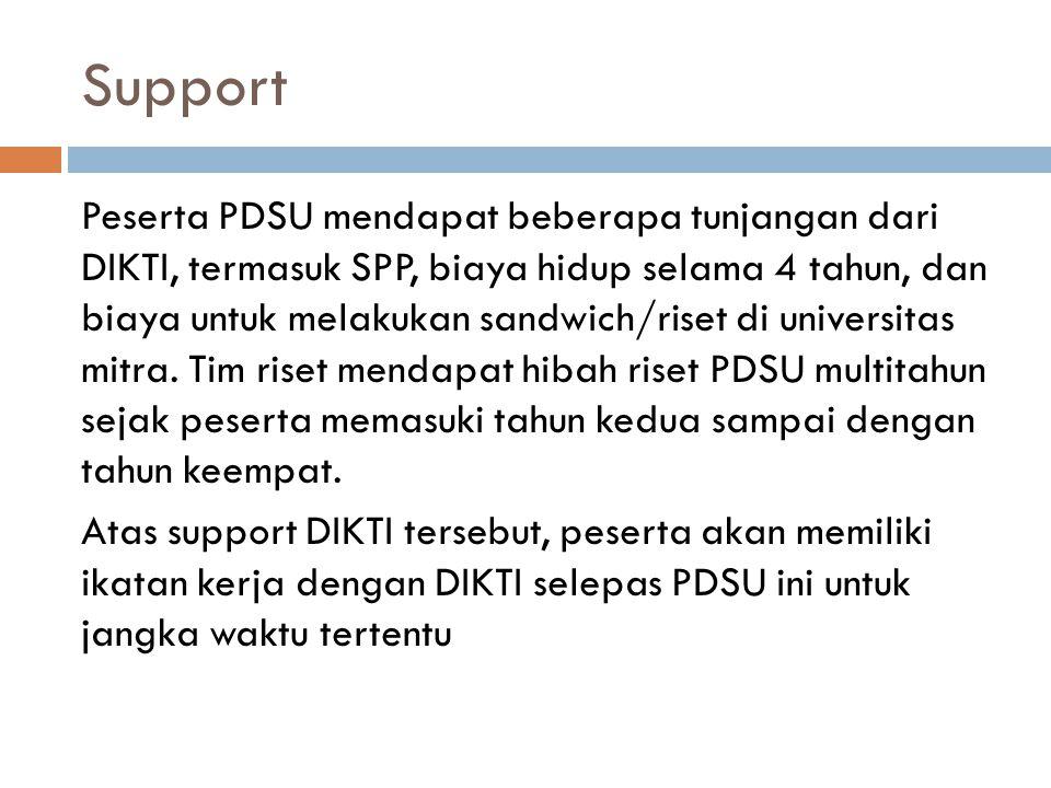 Support Peserta PDSU mendapat beberapa tunjangan dari DIKTI, termasuk SPP, biaya hidup selama 4 tahun, dan biaya untuk melakukan sandwich/riset di uni
