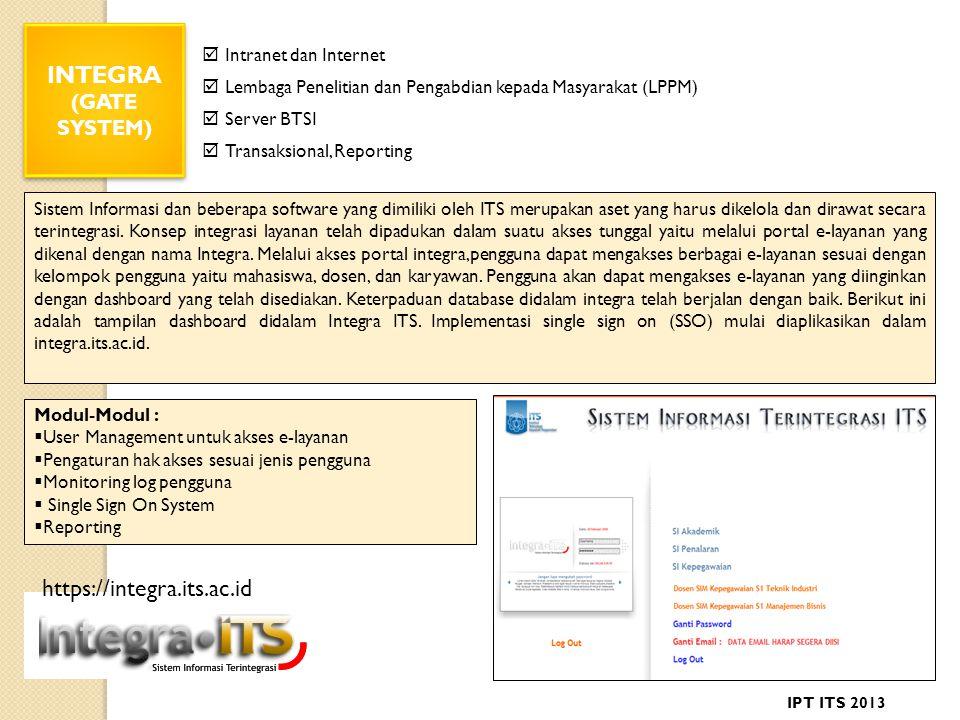 INTEGRA (GATE SYSTEM) INTEGRA (GATE SYSTEM) Sistem Informasi dan beberapa software yang dimiliki oleh ITS merupakan aset yang harus dikelola dan dirawat secara terintegrasi.