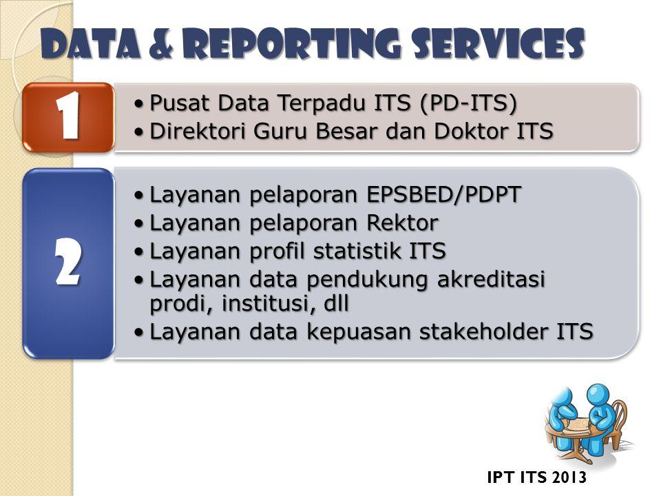 DATA & REPORTING SERVICES •Pusat Data Terpadu ITS (PD-ITS) •Direktori Guru Besar dan Doktor ITS 1 •Layanan pelaporan EPSBED/PDPT •Layanan pelaporan Rektor •Layanan profil statistik ITS •Layanan data pendukung akreditasi prodi, institusi, dll •Layanan data kepuasan stakeholder ITS 2 IPT ITS 2013
