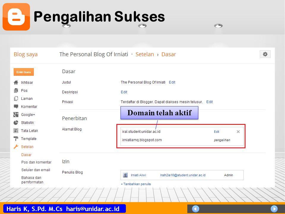 Haris K, S.Pd. M.Cs haris@unidar.ac.id Pengalihan Sukses Domain telah aktif