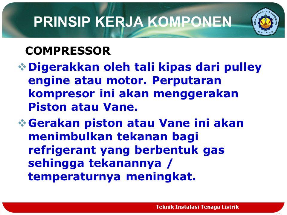 PRINSIP KERJA KOMPONEN COMPRESSOR DDigerakkan oleh tali kipas dari pulley engine atau motor.