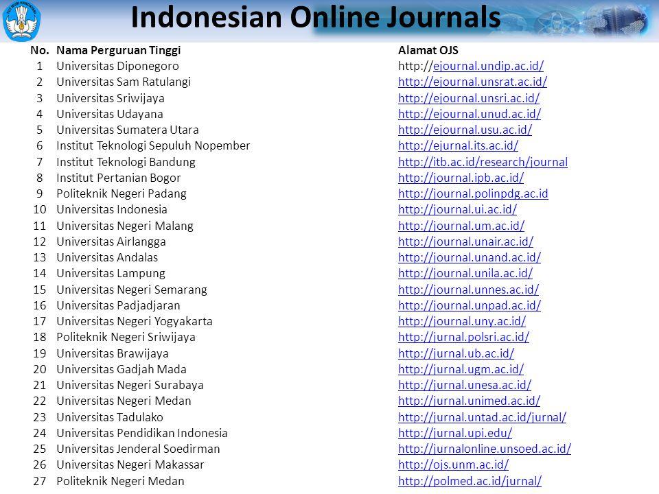 Daftar PTN yang telah memiliki E-Juornal No.Nama Perguruan TinggiAlamat OJS 1Universitas Diponegorohttp://ejournal.undip.ac.id/ejournal.undip.ac.id/ 2Universitas Sam Ratulangihttp://ejournal.unsrat.ac.id/ 3Universitas Sriwijayahttp://ejournal.unsri.ac.id/ 4Universitas Udayanahttp://ejournal.unud.ac.id/ 5Universitas Sumatera Utarahttp://ejournal.usu.ac.id/ 6Institut Teknologi Sepuluh Nopemberhttp://ejurnal.its.ac.id/ 7Institut Teknologi Bandunghttp://itb.ac.id/research/journal 8Institut Pertanian Bogorhttp://journal.ipb.ac.id/ 9Politeknik Negeri Padanghttp://journal.polinpdg.ac.id 10Universitas Indonesiahttp://journal.ui.ac.id/ 11Universitas Negeri Malanghttp://journal.um.ac.id/ 12Universitas Airlanggahttp://journal.unair.ac.id/ 13Universitas Andalashttp://journal.unand.ac.id/ 14Universitas Lampunghttp://journal.unila.ac.id/ 15Universitas Negeri Semaranghttp://journal.unnes.ac.id/ 16Universitas Padjadjaranhttp://journal.unpad.ac.id/ 17Universitas Negeri Yogyakartahttp://journal.uny.ac.id/ 18Politeknik Negeri Sriwijayahttp://jurnal.polsri.ac.id/ 19Universitas Brawijayahttp://jurnal.ub.ac.id/ 20Universitas Gadjah Madahttp://jurnal.ugm.ac.id/ 21Universitas Negeri Surabayahttp://jurnal.unesa.ac.id/ 22Universitas Negeri Medanhttp://jurnal.unimed.ac.id/ 23Universitas Tadulakohttp://jurnal.untad.ac.id/jurnal/ 24Universitas Pendidikan Indonesiahttp://jurnal.upi.edu/ 25Universitas Jenderal Soedirmanhttp://jurnalonline.unsoed.ac.id/ 26Universitas Negeri Makassarhttp://ojs.unm.ac.id/ 27Politeknik Negeri Medanhttp://polmed.ac.id/jurnal/ Indonesian Online Journals