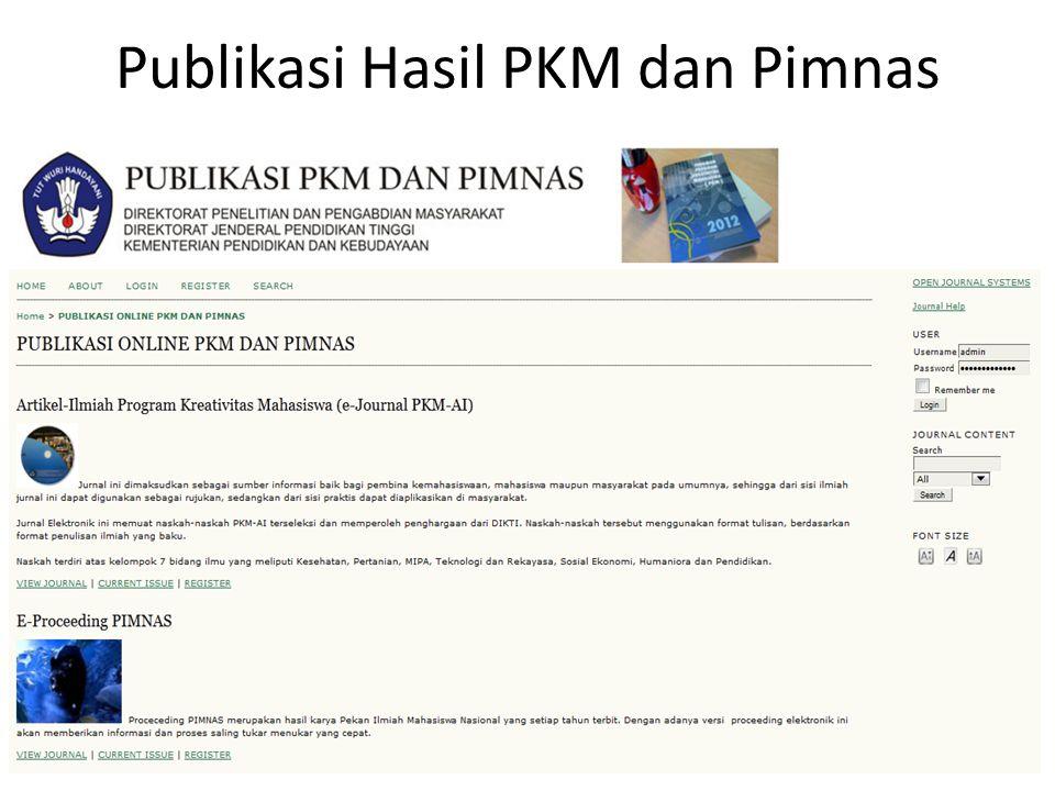 Publikasi Hasil PKM dan Pimnas