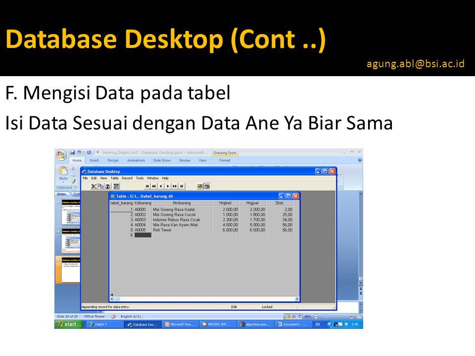 Database Desktop (Cont..) F.