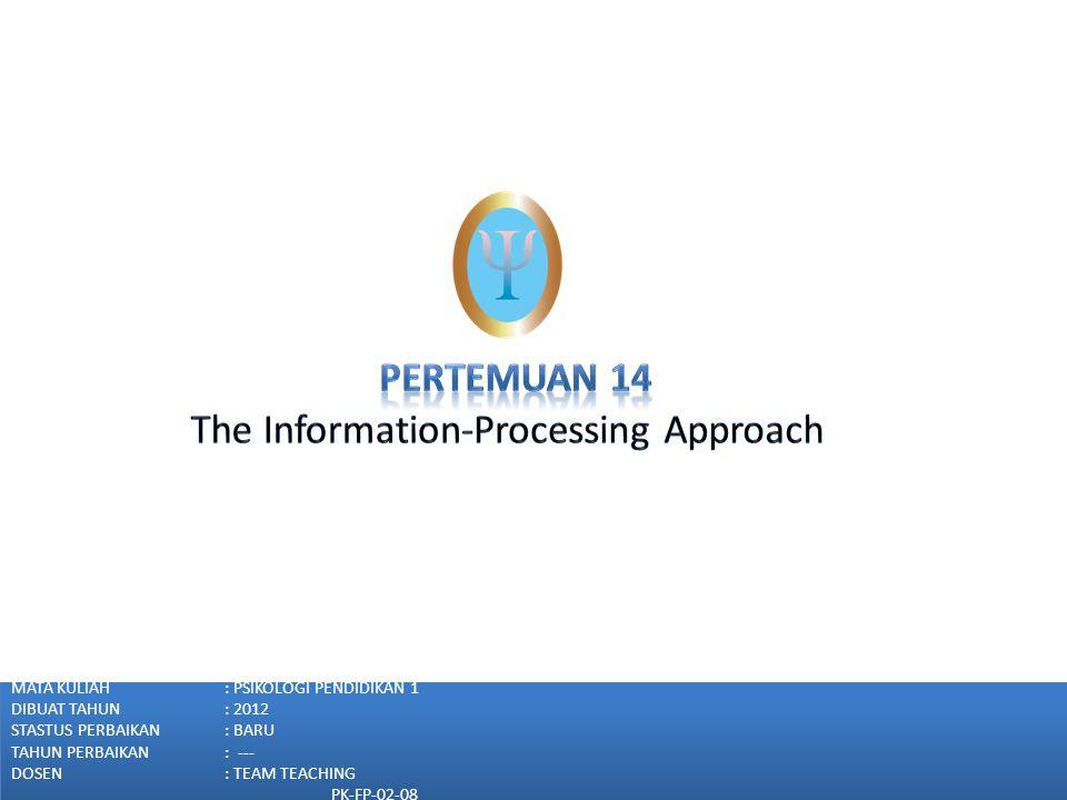 Pendekatan pemrosesan informasi  memanipulasi, memonitor, menyiasati informasi.
