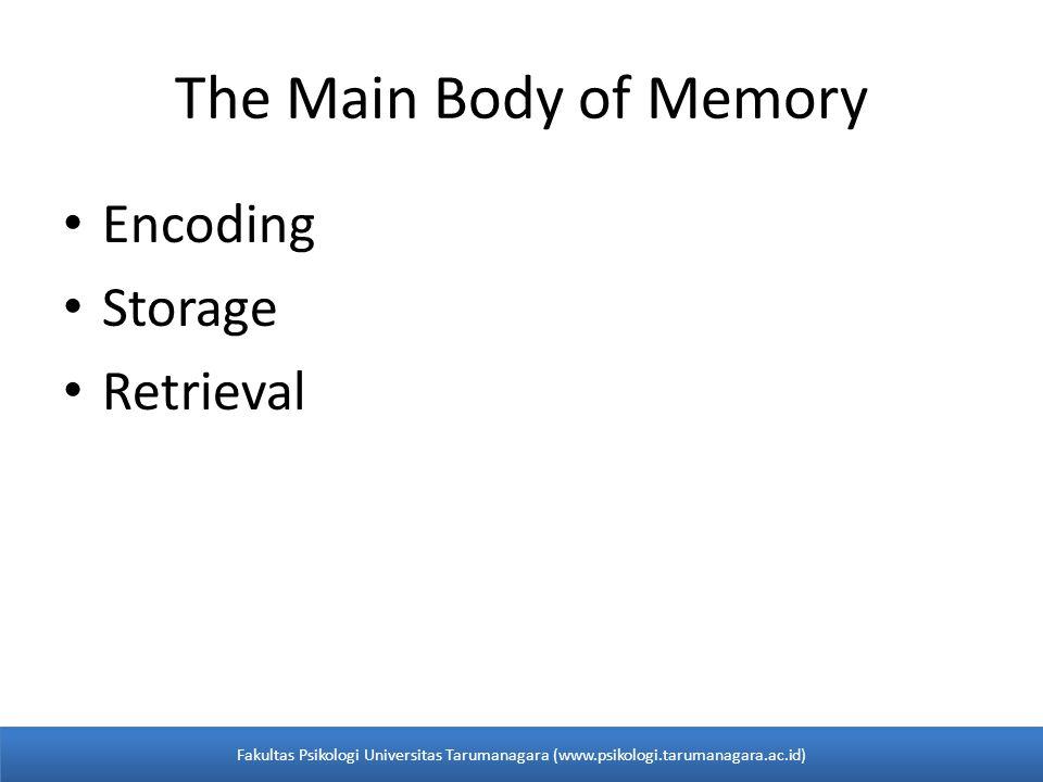 • Encoding • Storage • Retrieval The Main Body of Memory Fakultas Psikologi Universitas Tarumanagara (www.psikologi.tarumanagara.ac.id)