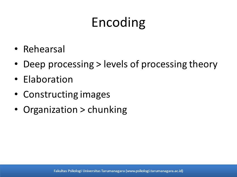 • Rehearsal • Deep processing > levels of processing theory • Elaboration • Constructing images • Organization > chunking Encoding Fakultas Psikologi