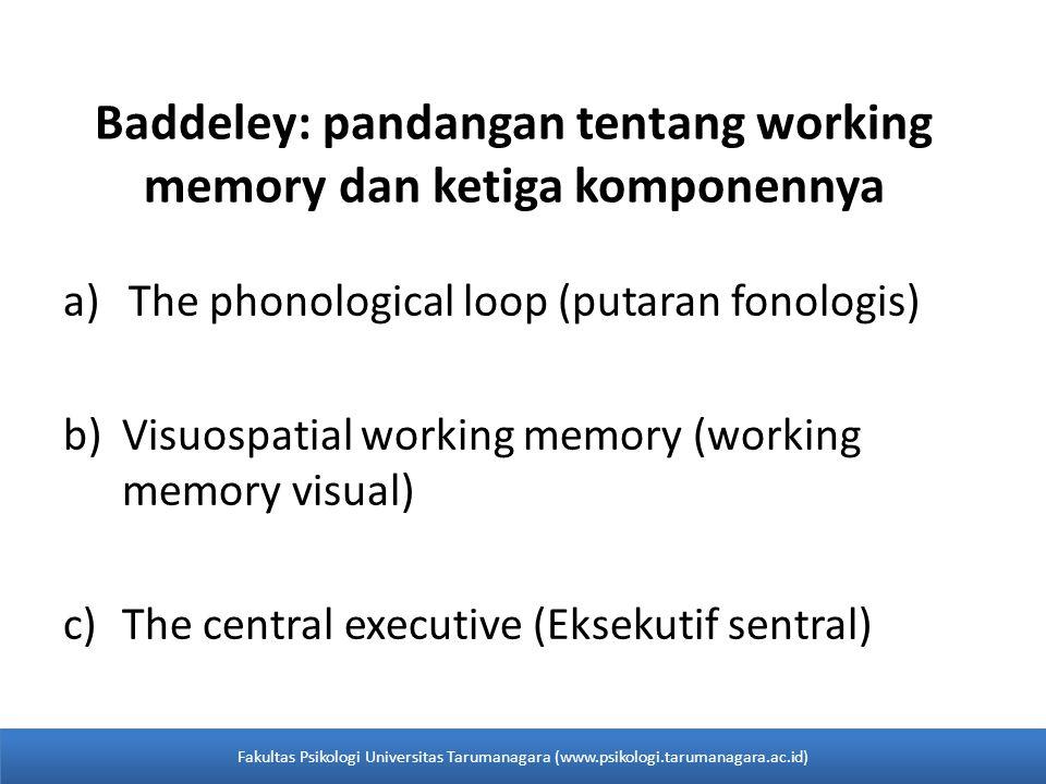 a)The phonological loop (putaran fonologis) b)Visuospatial working memory (working memory visual) c)The central executive (Eksekutif sentral) Baddeley