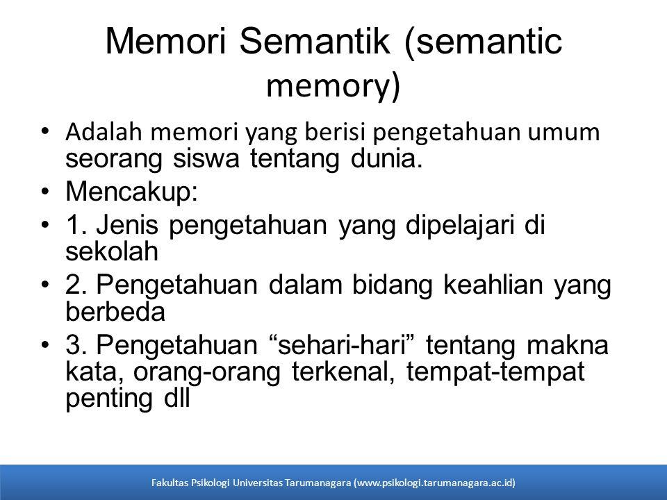• Adalah memori yang berisi pengetahuan umum seorang siswa tentang dunia. •Mencakup: •1. Jenis pengetahuan yang dipelajari di sekolah •2. Pengetahuan