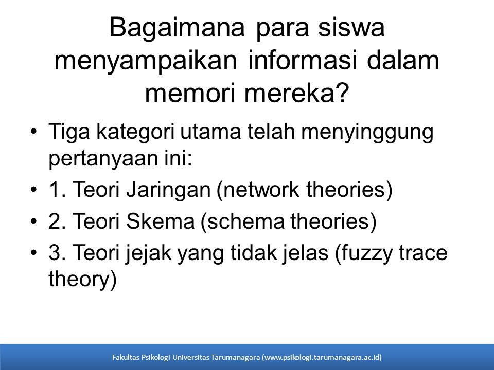 •Tiga kategori utama telah menyinggung pertanyaan ini: •1. Teori Jaringan (network theories) •2. Teori Skema (schema theories) •3. Teori jejak yang ti
