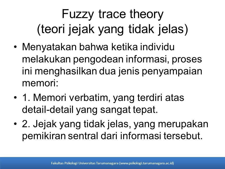 •Menyatakan bahwa ketika individu melakukan pengodean informasi, proses ini menghasilkan dua jenis penyampaian memori: •1. Memori verbatim, yang terdi