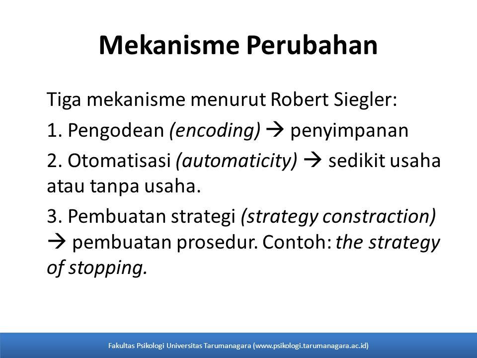 Tiga mekanisme menurut Robert Siegler: 1. Pengodean (encoding)  penyimpanan 2. Otomatisasi (automaticity)  sedikit usaha atau tanpa usaha. 3. Pembua