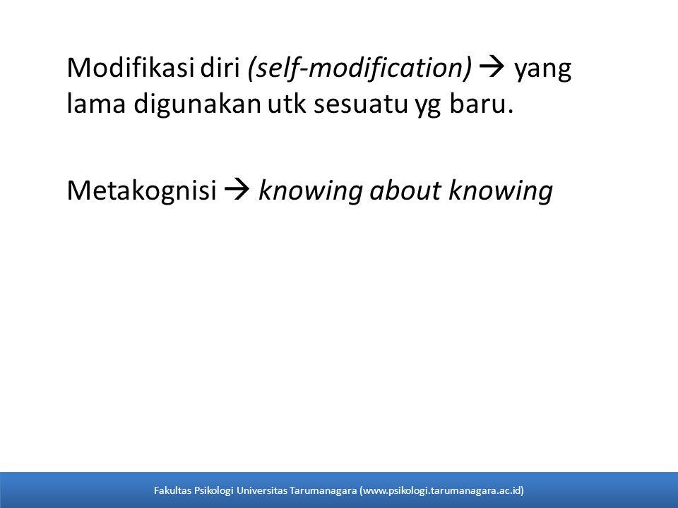 Modifikasi diri (self-modification)  yang lama digunakan utk sesuatu yg baru. Metakognisi  knowing about knowing Fakultas Psikologi Universitas Taru