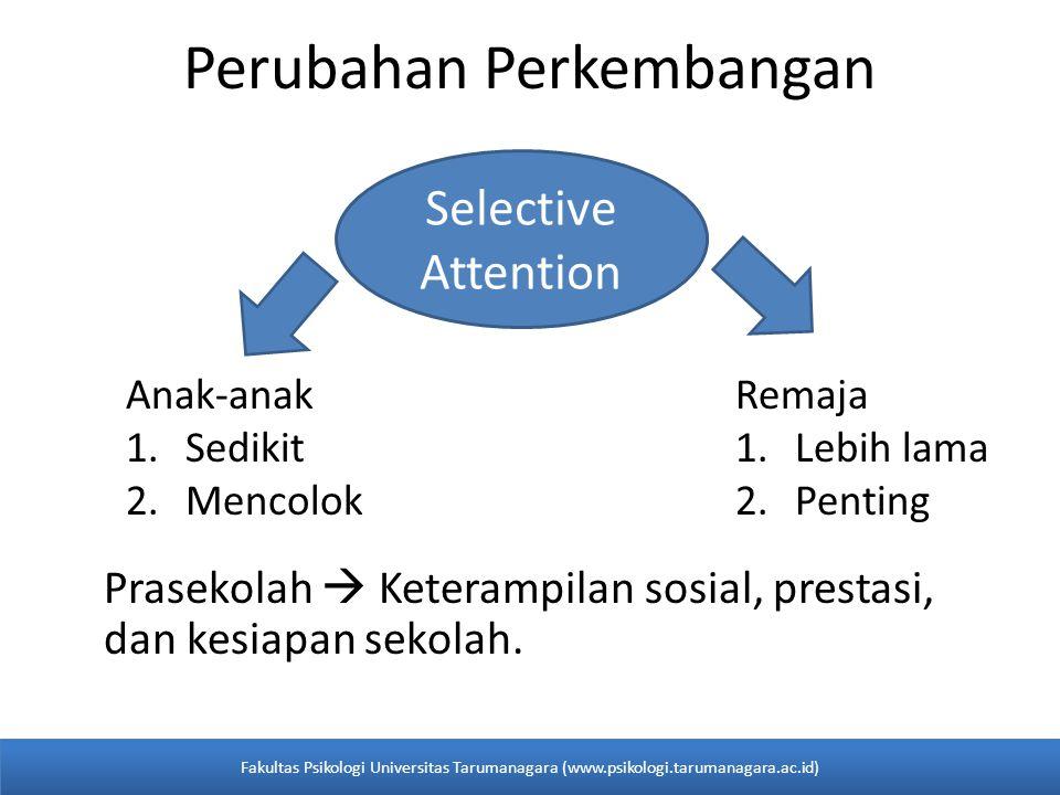 Prasekolah  Keterampilan sosial, prestasi, dan kesiapan sekolah. Perubahan Perkembangan Selective Attention Anak-anak 1.Sedikit 2.Mencolok Remaja 1.L
