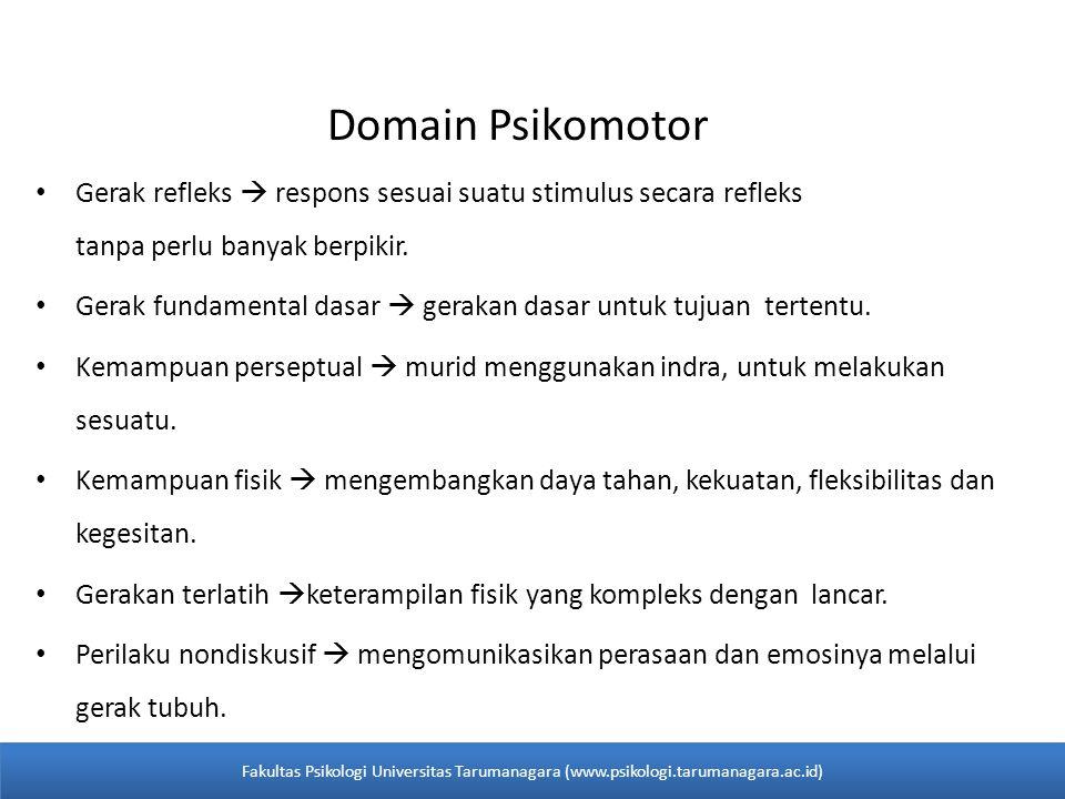 Domain Psikomotor • Gerak refleks  respons sesuai suatu stimulus secara refleks tanpa perlu banyak berpikir. • Gerak fundamental dasar  gerakan dasa