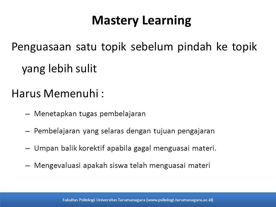 Mastery Learning Penguasaan satu topik sebelum pindah ke topik yang lebih sulit Harus Memenuhi : – Menetapkan tugas pembelajaran – Pembelajaran yang s