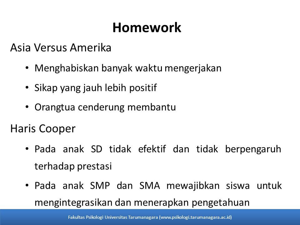Homework Asia Versus Amerika • Menghabiskan banyak waktu mengerjakan • Sikap yang jauh lebih positif • Orangtua cenderung membantu Haris Cooper • Pada