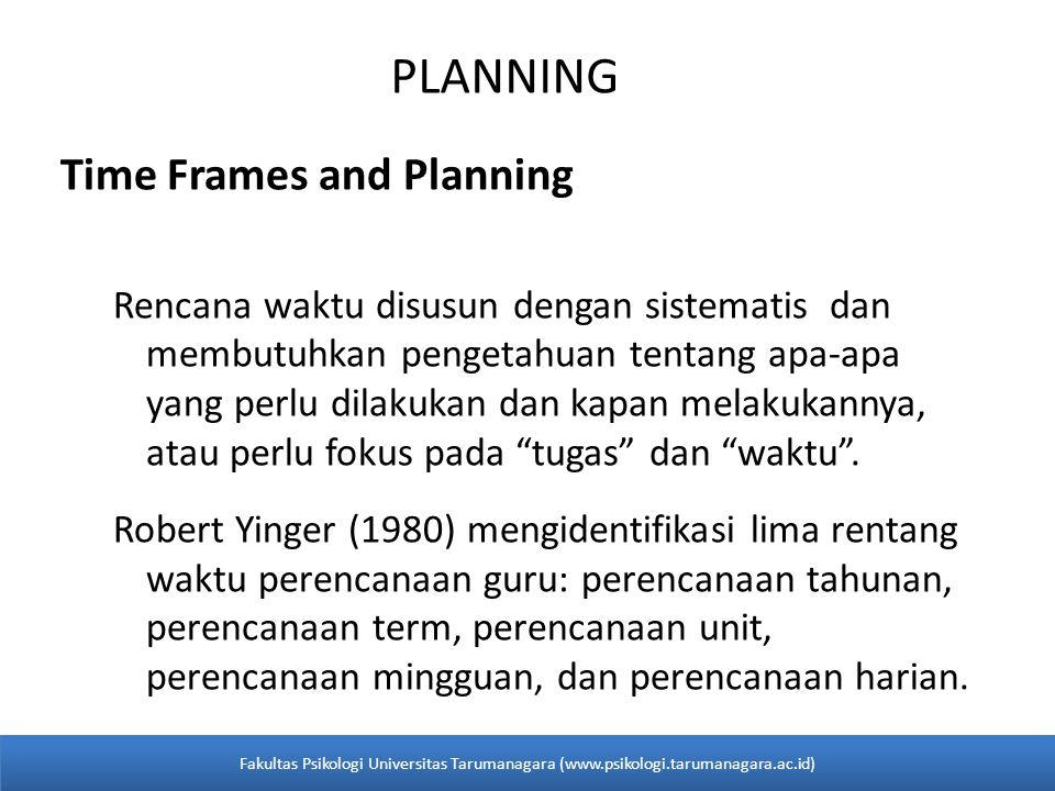 PLANNING Time Frames and Planning Rencana waktu disusun dengan sistematis dan membutuhkan pengetahuan tentang apa-apa yang perlu dilakukan dan kapan m