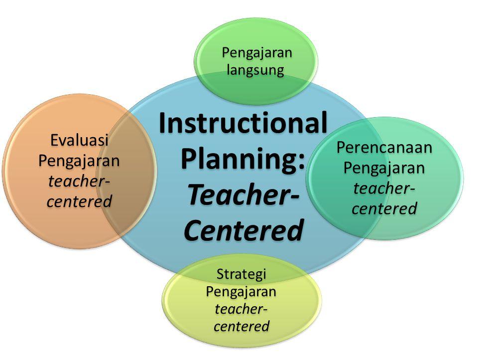 Instructional Planning: Teacher- Centered Perencanaan Pengajaran teacher- centered Pengajaran langsung Strategi Pengajaran teacher- centered Evaluasi