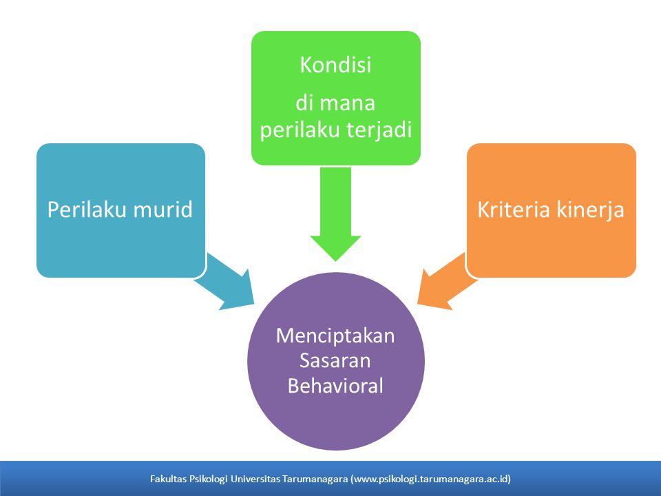 Menciptakan Sasaran Behavioral Perilaku murid Kondisi di mana perilaku terjadi Kriteria kinerja Fakultas Psikologi Universitas Tarumanagara (www.psiko