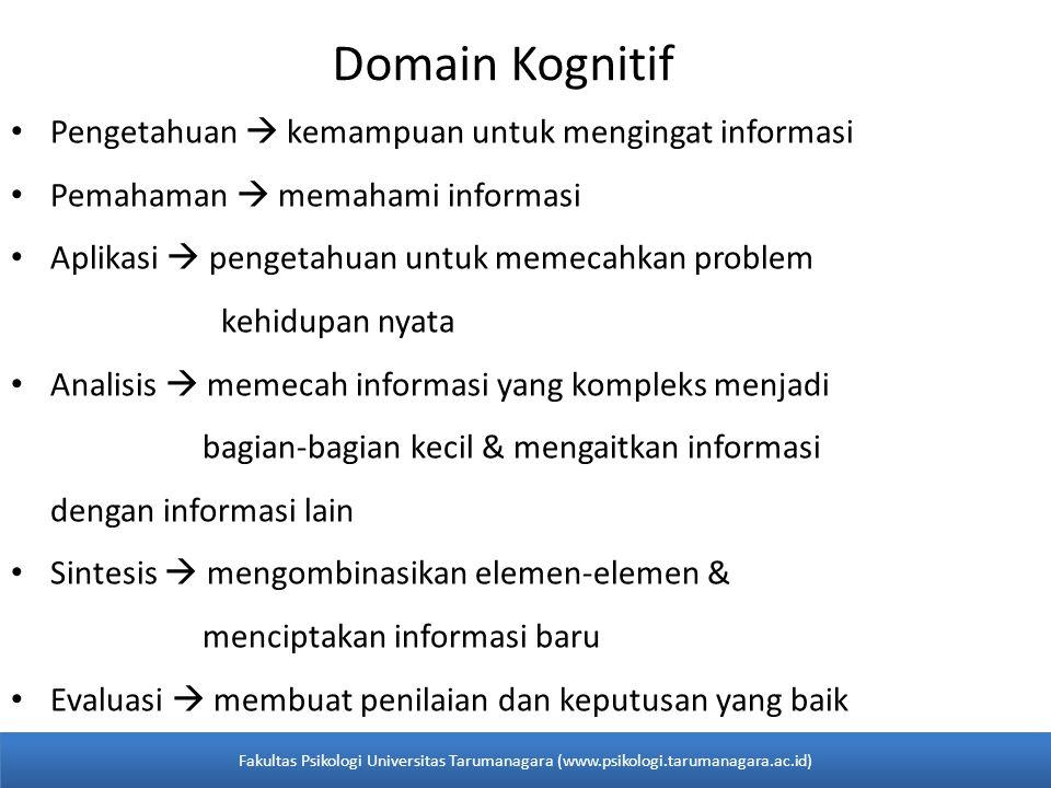 Domain Kognitif • Pengetahuan  kemampuan untuk mengingat informasi • Pemahaman  memahami informasi • Aplikasi  pengetahuan untuk memecahkan problem