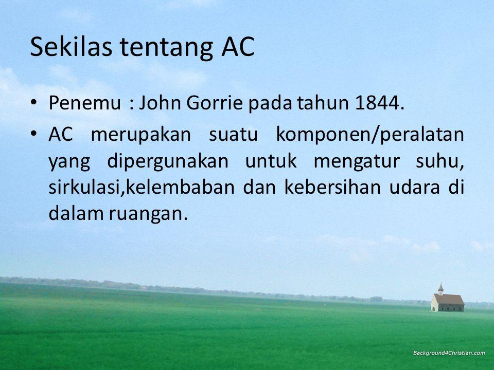 Sekilas tentang AC • Penemu: John Gorrie pada tahun 1844.