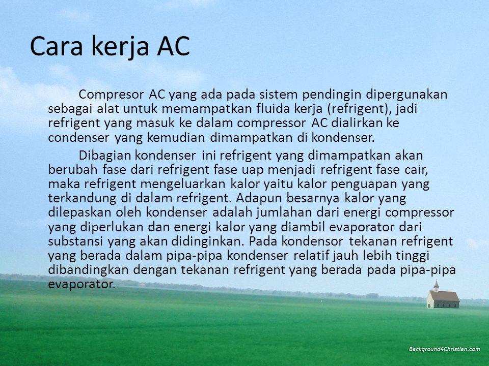 Compresor AC yang ada pada sistem pendingin dipergunakan sebagai alat untuk memampatkan fluida kerja (refrigent), jadi refrigent yang masuk ke dalam compressor AC dialirkan ke condenser yang kemudian dimampatkan di kondenser.