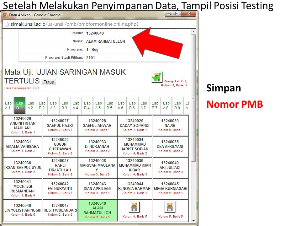 Setelah Melakukan Penyimpanan Data, Tampil Posisi Testing Simpan Nomor PMB