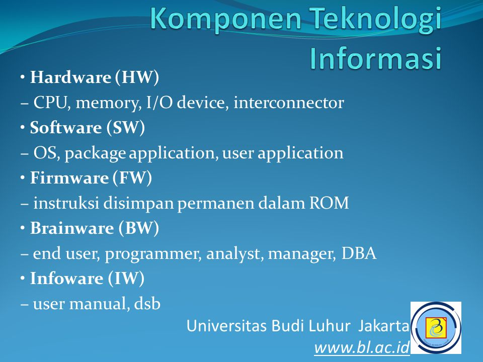 • Hardware (HW) – CPU, memory, I/O device, interconnector • Software (SW) – OS, package application, user application • Firmware (FW) – instruksi disi