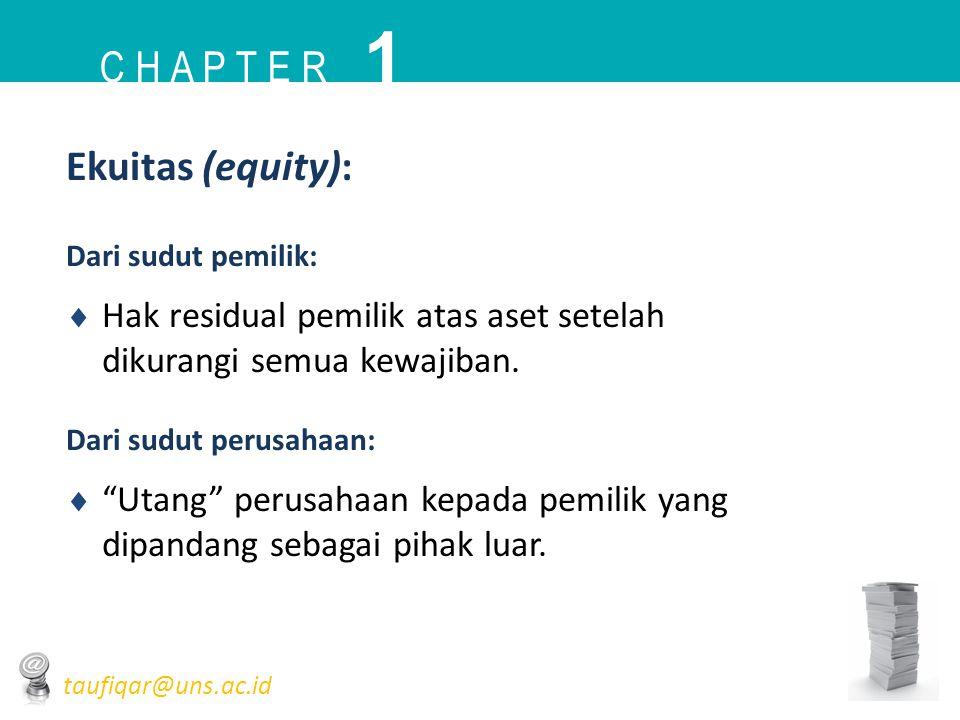 """Ekuitas (equity): Dari sudut pemilik:  Hak residual pemilik atas aset setelah dikurangi semua kewajiban. Dari sudut perusahaan:  """"Utang"""" perusahaan"""