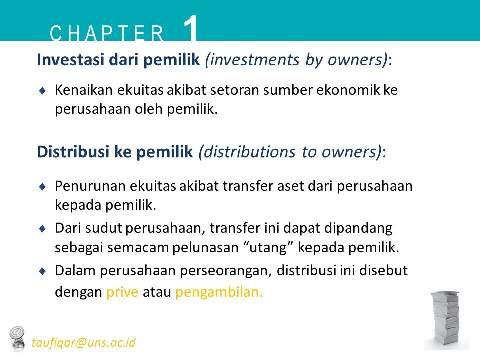 Investasi dari pemilik (investments by owners):  Kenaikan ekuitas akibat setoran sumber ekonomik ke perusahaan oleh pemilik. Distribusi ke pemilik (d