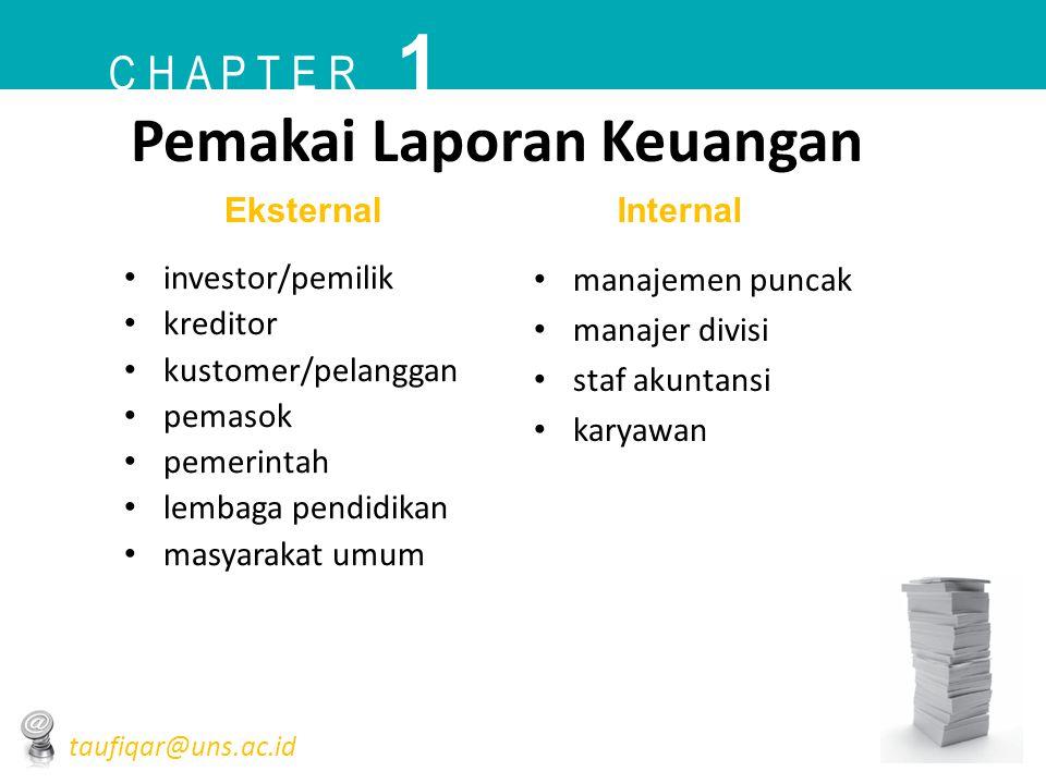 Pemakai Laporan Keuangan • investor/pemilik • kreditor • kustomer/pelanggan • pemasok • pemerintah • lembaga pendidikan • masyarakat umum • manajemen
