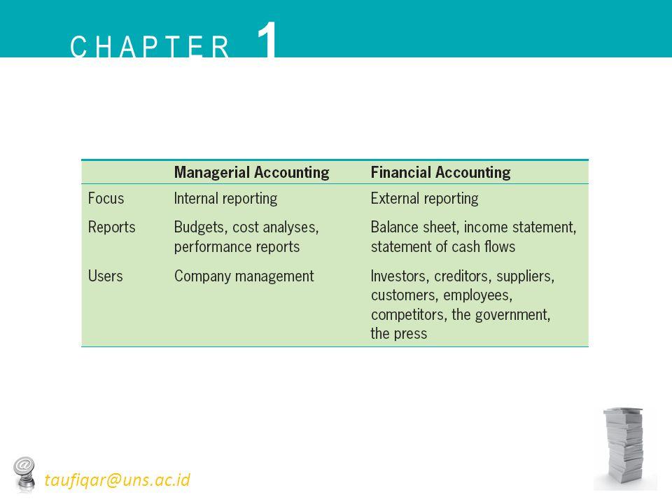Arti Penting Tujuan Pelaporan Keuangan • Investor dan kreditor dianggap pihak yang dominan dan menjadi fokus yang dituju dalam laporan keuangan sebagai dasar keputusan investasi dan pemberian kredit C H A P T E R 1 taufiqar@uns.ac.id