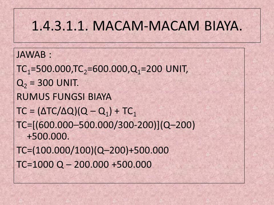 1.4.3.1.1. MACAM-MACAM BIAYA. JAWAB : TC 1 =500.000,TC 2 =600.000,Q 1 =200 UNIT, Q 2 = 300 UNIT. RUMUS FUNGSI BIAYA TC = (ΔTC/ΔQ)(Q – Q 1 ) + TC 1 TC=