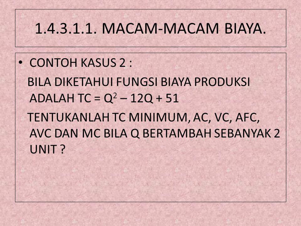 1.4.3.1.1. MACAM-MACAM BIAYA. • CONTOH KASUS 2 : BILA DIKETAHUI FUNGSI BIAYA PRODUKSI ADALAH TC = Q 2 – 12Q + 51 TENTUKANLAH TC MINIMUM, AC, VC, AFC,