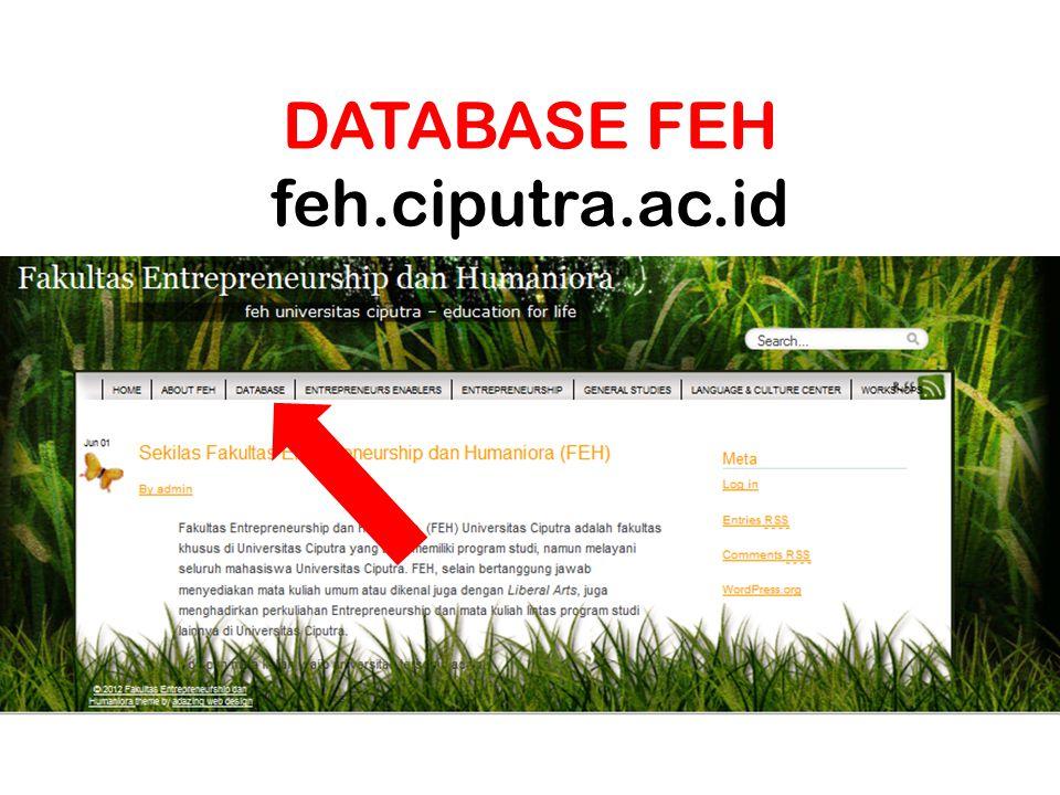 DATABASE FEH feh.ciputra.ac.id