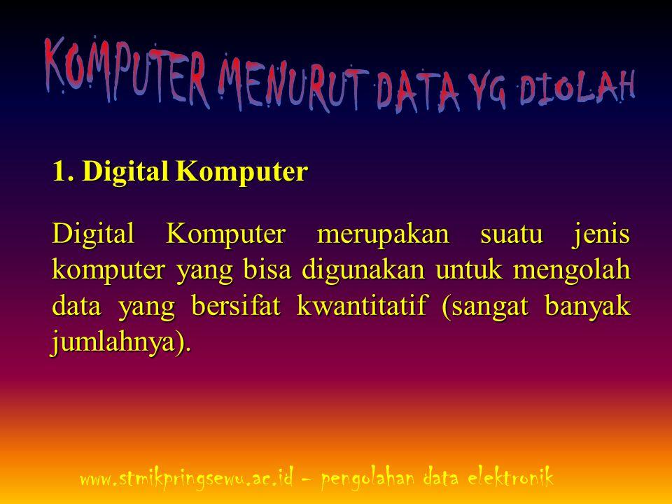 1. Digital Komputer Digital Komputer merupakan suatu jenis komputer yang bisa digunakan untuk mengolah data yang bersifat kwantitatif (sangat banyak j