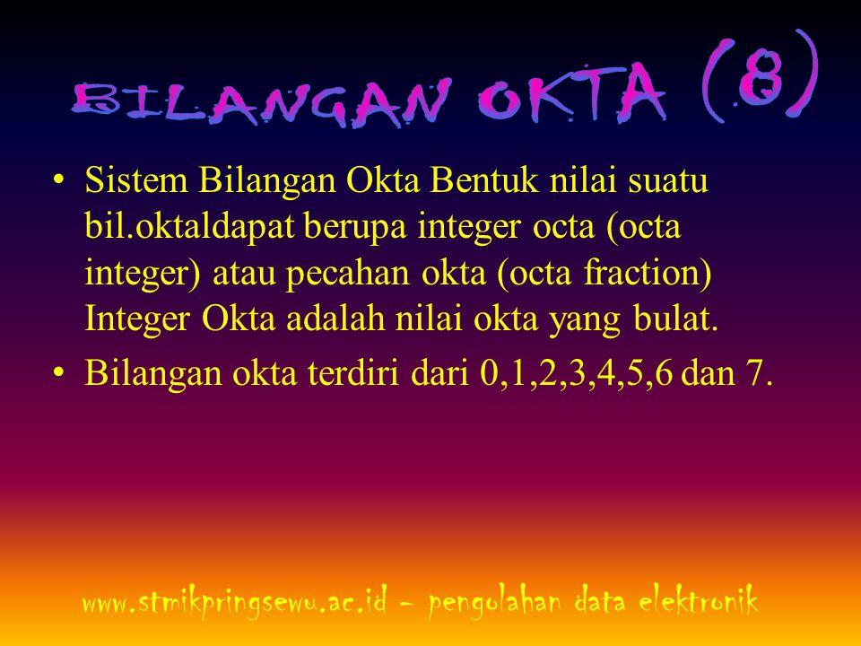 • Sistem Bilangan Okta Bentuk nilai suatu bil.oktaldapat berupa integer octa (octa integer) atau pecahan okta (octa fraction) Integer Okta adalah nila