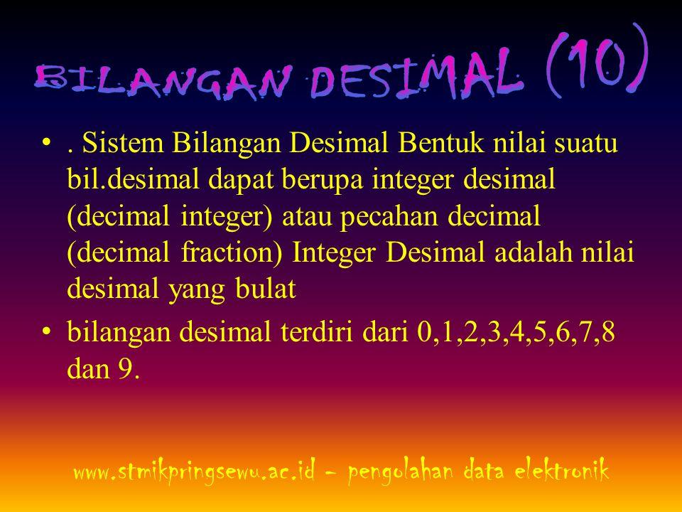 •. Sistem Bilangan Desimal Bentuk nilai suatu bil.desimal dapat berupa integer desimal (decimal integer) atau pecahan decimal (decimal fraction) Integ