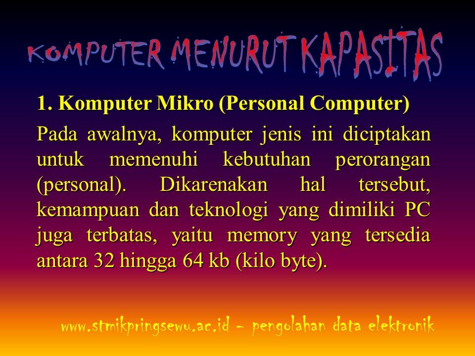 1. Komputer Mikro (Personal Computer) Pada awalnya, komputer jenis ini diciptakan untuk memenuhi kebutuhan perorangan (personal). Dikarenakan hal ters