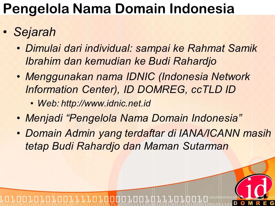 Pengelola Nama Domain Indonesia •Sejarah •Dimulai dari individual: sampai ke Rahmat Samik Ibrahim dan kemudian ke Budi Rahardjo •Menggunakan nama IDNIC (Indonesia Network Information Center), ID DOMREG, ccTLD ID •Web: http://www.idnic.net.id •Menjadi Pengelola Nama Domain Indonesia •Domain Admin yang terdaftar di IANA/ICANN masih tetap Budi Rahardjo dan Maman Sutarman