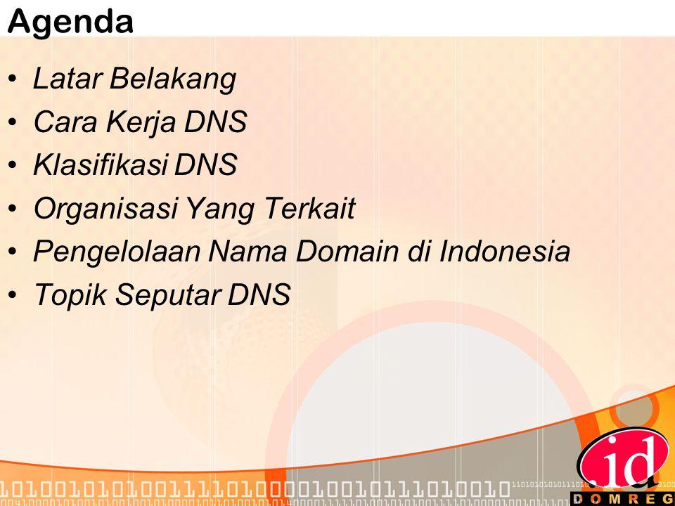 Agenda •Latar Belakang •Cara Kerja DNS •Klasifikasi DNS •Organisasi Yang Terkait •Pengelolaan Nama Domain di Indonesia •Topik Seputar DNS