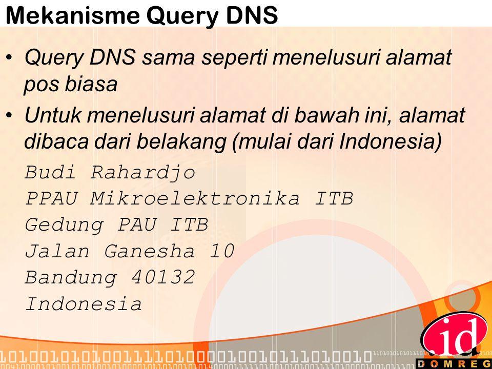 Mekanisme Query DNS •Query DNS sama seperti menelusuri alamat pos biasa •Untuk menelusuri alamat di bawah ini, alamat dibaca dari belakang (mulai dari Indonesia) Budi Rahardjo PPAU Mikroelektronika ITB Gedung PAU ITB Jalan Ganesha 10 Bandung 40132 Indonesia