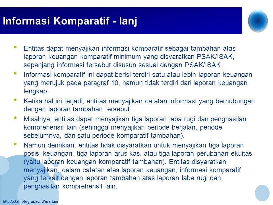 http:/.staff.blog.ui.ac.id/martani Informasi Komparatif - lanj • Entitas dapat menyajikan informasi komparatif sebagai tambahan atas laporan keuangan