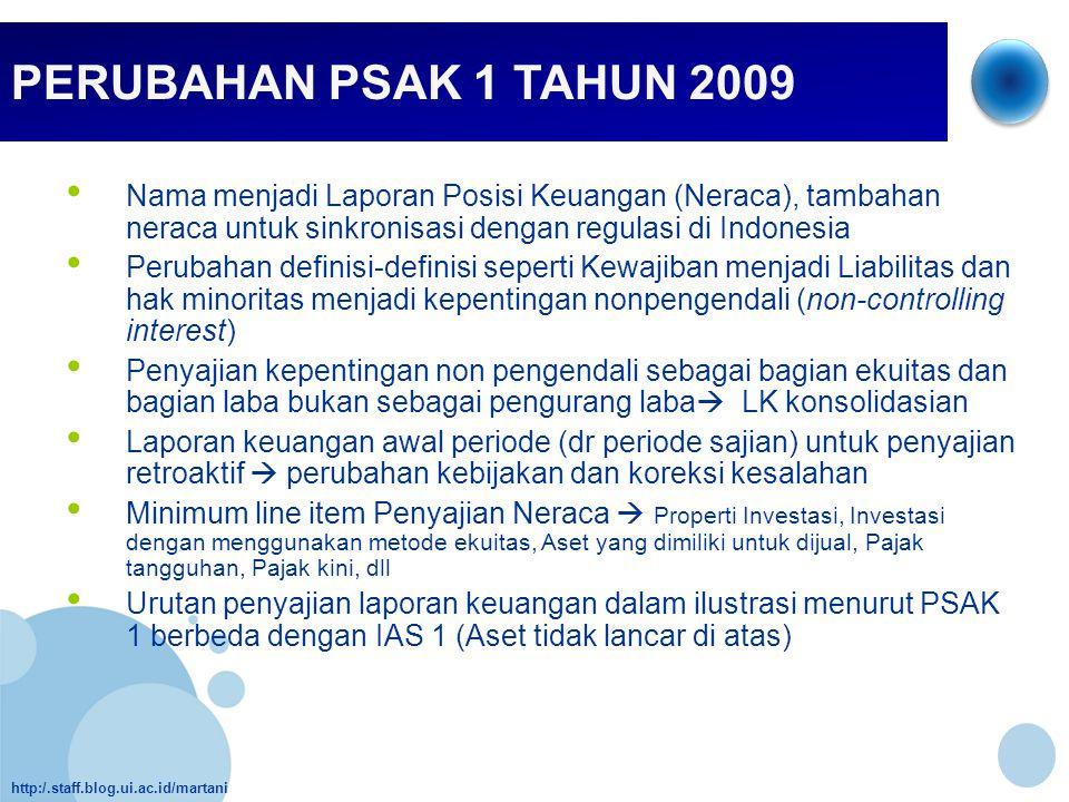 http:/.staff.blog.ui.ac.id/martani PERUBAHAN PSAK 1 TAHUN 2009 • Nama menjadi Laporan Posisi Keuangan (Neraca), tambahan neraca untuk sinkronisasi den